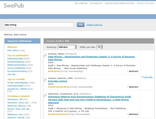 Swepub-tietokanta sisältää ruotsalaisten korkeakoulujen julkaisutietoja