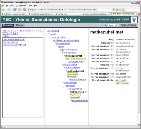 Kuva 3. Yleinen suomalainen ontologia YSO on sekä ihmisten että koneiden hyödynnettävissä ONKI-palvelimen välityksellä.