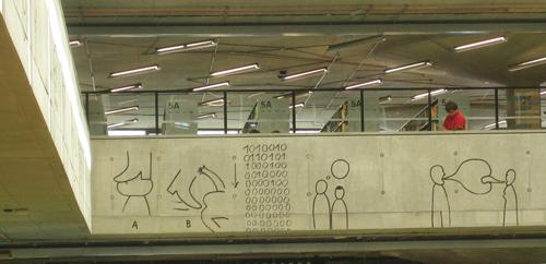 Otsikkokuva kontekstissaan: Tsekin kansallisen teknillisen kirjaston 5. kerroksen kaidetta. (Kuva: Laila Heinemann)