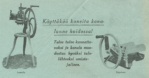 Kuva: Salon Sähkö- ja Konetehdas OY: Käyttäkää koneita kanalanne hoidossa sivu 1. Kansalliskirjaston pienpainatekokoelma (http://digi.lib.helsinki.fi/pienpainate/)