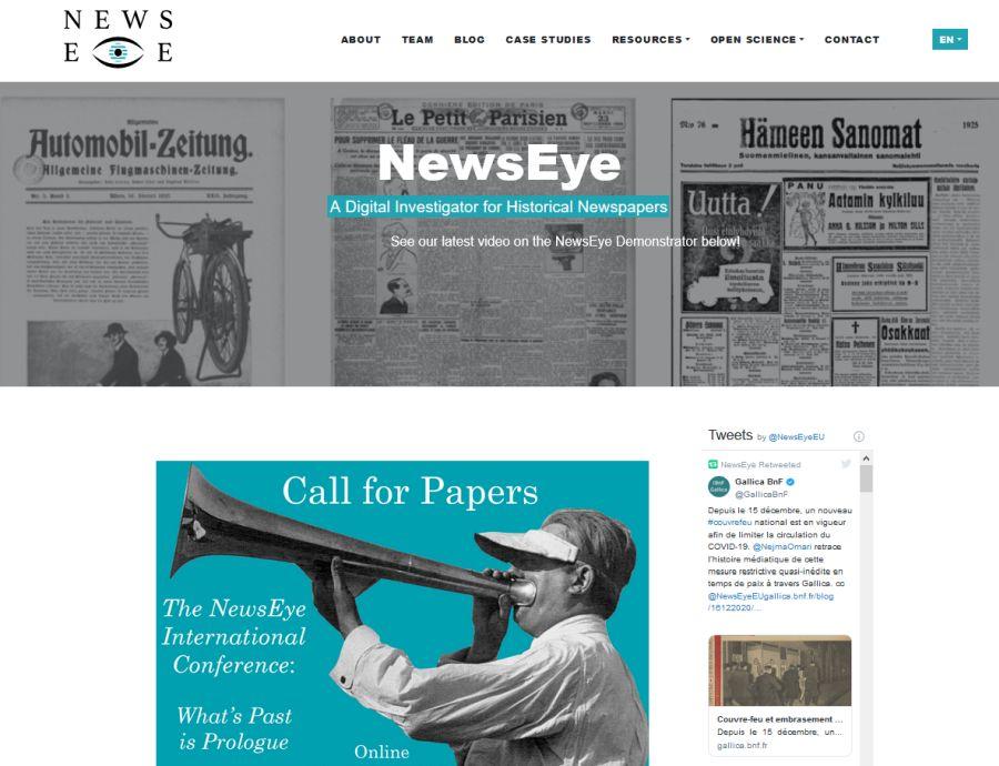 NewsEye-projektin verkkosivu