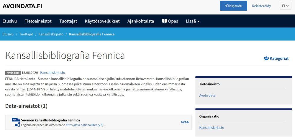 Fennica-aineisto Avoindata.fi-palvelussa