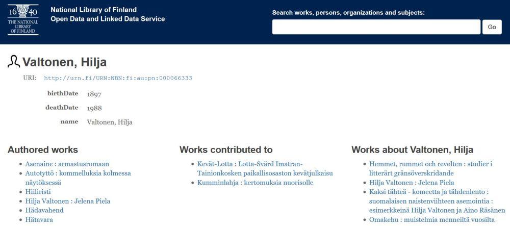 Hilja Valtoseen liittyviä julkaisuja linkitettynä datana julkaistussa Fennicassa