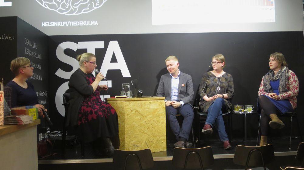 Open access -viikkoon liittyvä keskustelutilaisuus Helsingin yliopiston Tiedekulmassa syksyllä 2016
