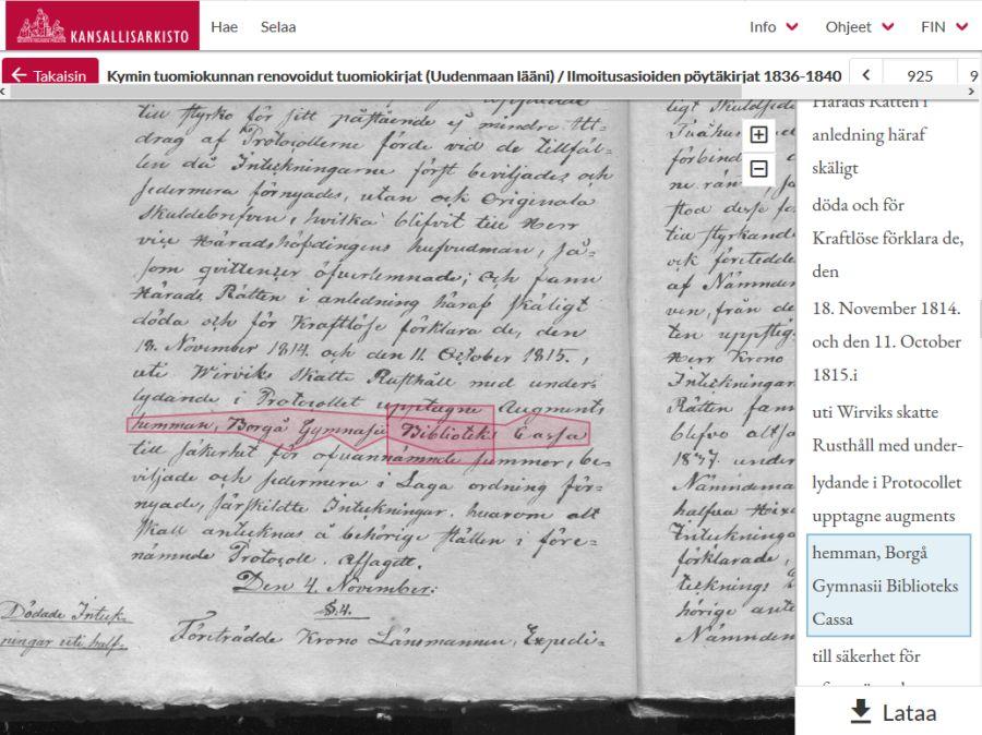 Kuva tuomiokirjojen hakupalvelusta, jossa on mahdollista tehdä hakuja käsinkirjoitettujen aineistojen sisällöstä
