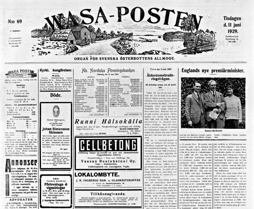 Wasa-posten lehden etusivua vuodelta 1929