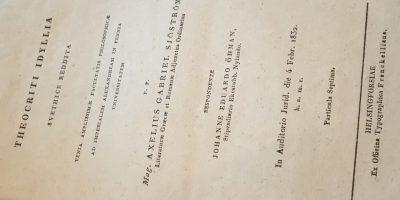 Kuva digitoidusta Keisarillisen Aleksanterin yliopiston väitöskirjan nimiösivusta.