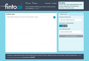Kuvakaappaus Finto AI -palvelun verkkosivusta.